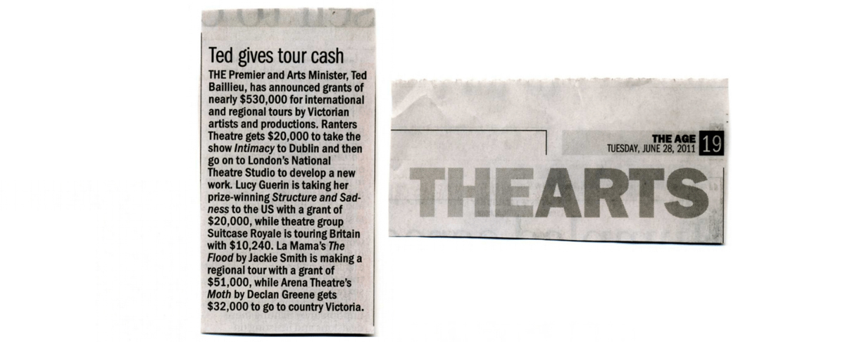 Two snippets of a newspaper scan are placed on a plain-white background. The left snippet reads