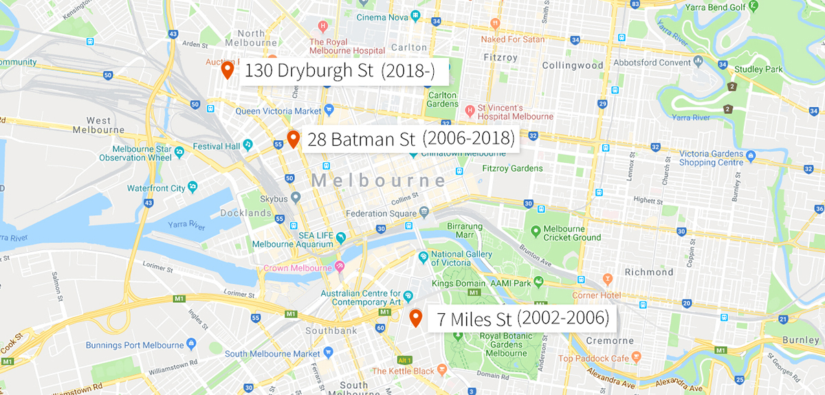 A map showing the three previous locations of Lucy Guerin's Studios throughout Melbourne.
