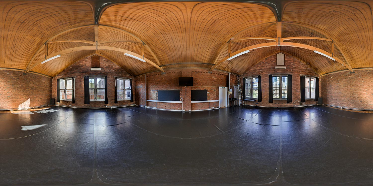 A 360-degree panorama of a large