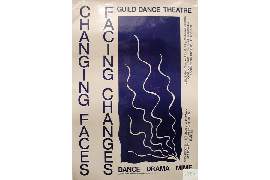 Poster Advertising the Guild Dance production of Changing Faces, Facing Changes in 1985