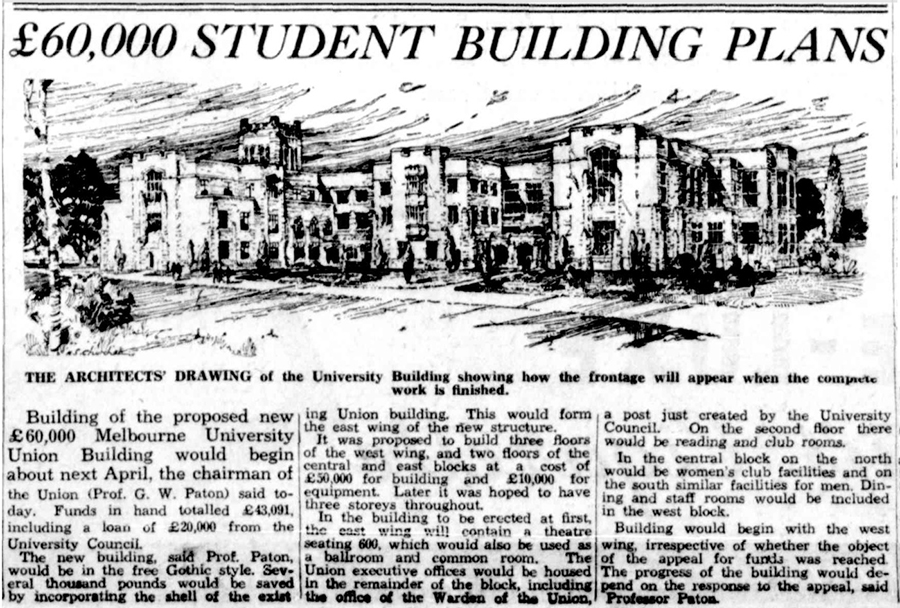 "A newspaper article with the headline ""£60,000 STUDENT BUILDING PLANS"""