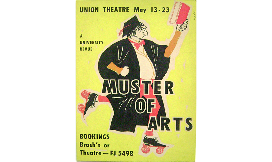 Poster advertising the Muster of Arts 1959 student revue, held at Union Theatre